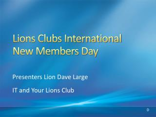 Lions Clubs International New Members Day