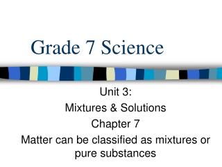 Unit 4   Pure Substances  Mixtures