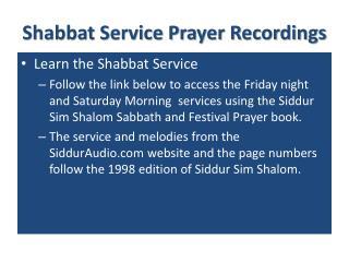 Shabbat Service Prayer Recordings