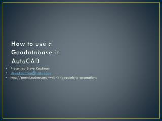 How to use a  Geodatabase  in AutoCAD