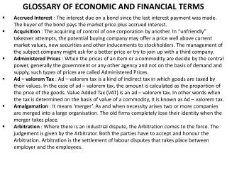 GLOSSARY OF ECONOMIC AND FINANCIAL TERMS