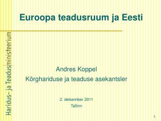 Euroopa teadusruum ja Eesti