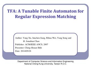 TFA: A  Tunable Finite Automaton for Regular Expression Matching