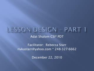 Lesson Design – Part 1