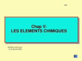 Chap V: LES ELEMENTS CHIMIQUES