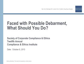 Faced with Possible Debarment, What Should You Do?