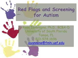 Red Flags and Screening for Autism