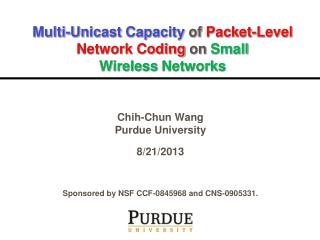 Multi-Unicast  Capacity  of  Packet-Level Network Coding  on  Small Wireless  Networks