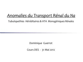 Dominique   Guerrot Cours  DES  -  31 Mai  2012