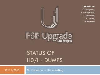 Status of  H0/H-  dumps