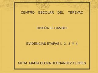 CENTRO    ESCOLAR    DEL     TEPEYAC DISEÑA EL CAMBIO EVIDENCIAS ETAPAS I,  2,  3  Y  4