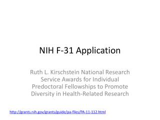 NIH F-31 Application
