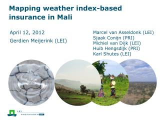 Mapping weather index-based insurance in  Mali