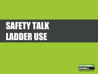 Safety Talk Ladder Use