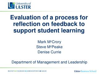 Evaluation of a process for reflection on feedback to support student learning