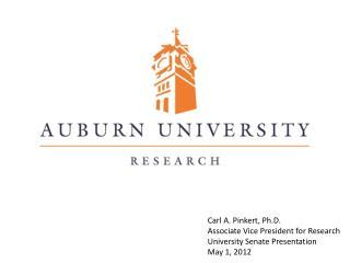 Carl A. Pinkert, Ph.D. Associate Vice President for Research University Senate Presentation