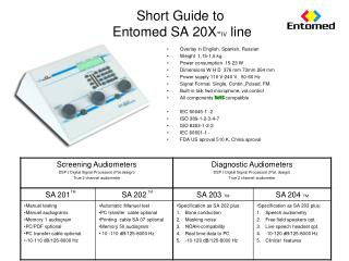 Short  Guide to Entomed  SA 20X- IV line
