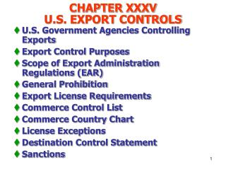 CHAPTER XXXV  U.S. EXPORT CONTROLS