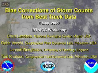 Bias Corrections of Storm Counts from Best Track Data