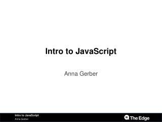 Intro to JavaScript