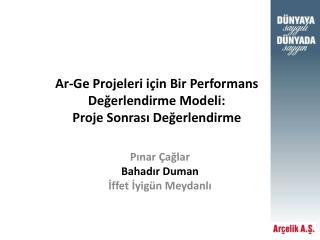 Ar-Ge Projeleri için Bir Performans Değerlendirme Modeli:  Proje Sonrası Değerlendirme