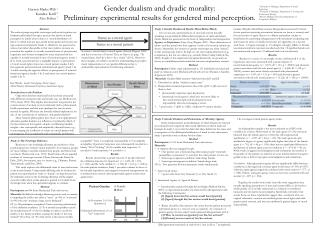 Study 3: Gender Dualism and Evaluations of Morality/Agency