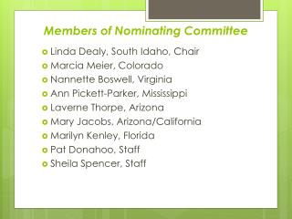 Members of Nominating Committee