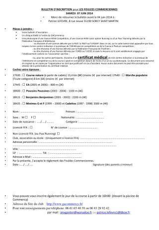 BULLETIN D'INSCRIPTION  pour  LES FOULEES COMMERCIENNES SAMEDI  07 JUIN 2014