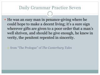 Daily Grammar Practice Seven