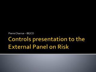 Controls presentation to the External Panel on Risk