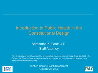 Introduction to Public Health in the Constitutional Design