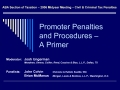 Promoter Penalties and Procedures    A Primer
