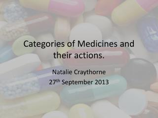 Categories of Medicines and their actions.