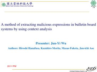 A method of extracting malicious expressions in bulletin board  systems by  using context analysis