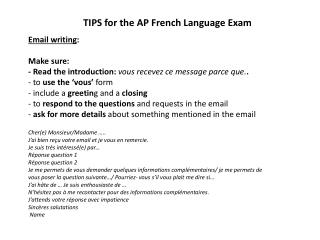 TIPS for the AP French Language Exam