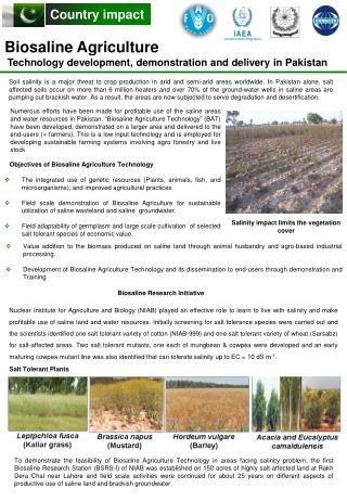Biosaline Agriculture  Technology development, demonstration and delivery in Pakistan