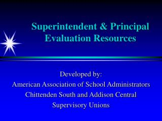 Superintendent  Principal Evaluation Resources
