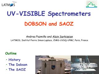 UV-VISIBLE Spectrometers DOBSON and SAOZ