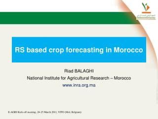 RS  based crop forecasting  in  Morocco