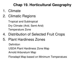 Chap 19. Horticultural Geography