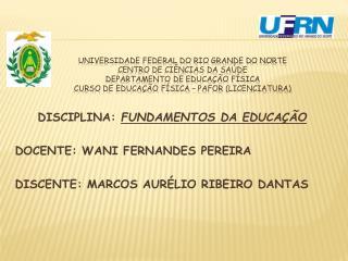 DISCIPLINA:  FUNDAMENTOS DA  EDUCAÇÃO DOCENTE:  WANI FERNANDES  PEREIRA