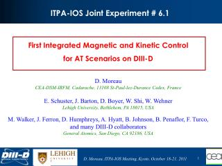 ITPA-IOS Joint  Experiment  # 6.1