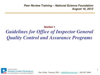 Section 1 Guidelines for Office of Inspector General Quality Control and Assurance Programs