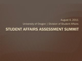 Student Affairs Assessment summit