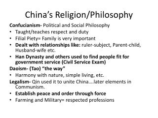 China's Religion/Philosophy