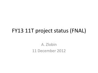 FY13 11T project status (FNAL)