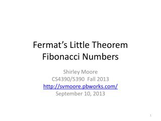 Fermat's Little Theorem Fibonacci Numbers