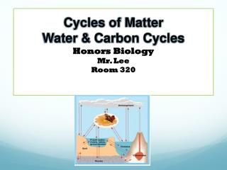 Cycles of Matter Water & Carbon Cycles Honors Biology Mr. Lee Room 320