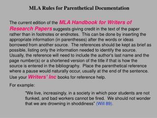 MLA Rules for Parenthetical Documentation