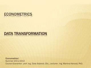 Econometrics data transformation